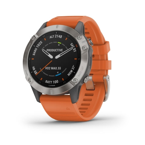 Garmin Fenix 6 Sapphire, Ti Gray/Orange Band GPS Watch