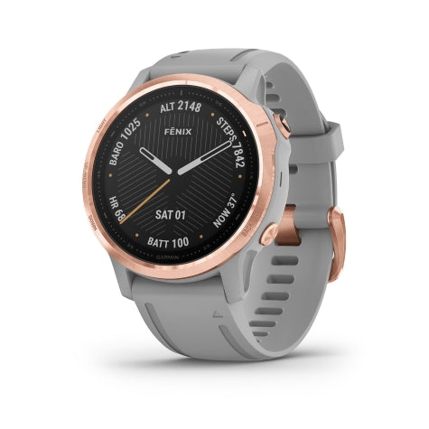 Garmin Fenix 6S Sapphire Rose Gold w/ Gray Band GPS Watch