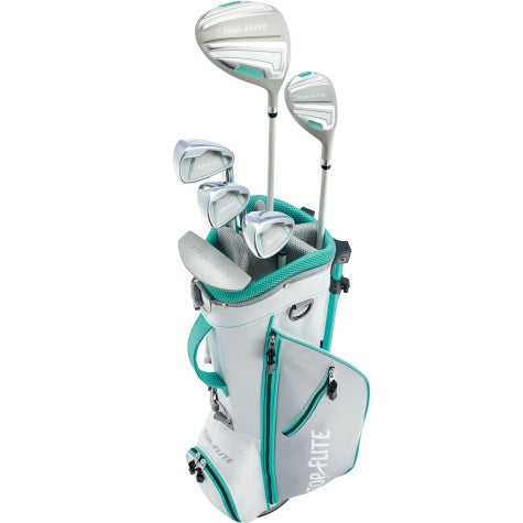 Top-Flite Girls 9-Piece Complete Golf Set w/Bag Teal Left Hand Ages 9-12