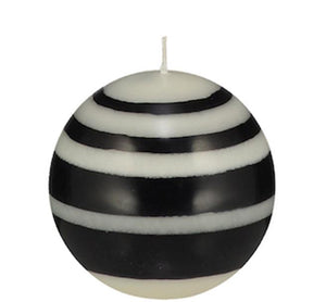 Black & White Eco Striped Ball Candle. Small