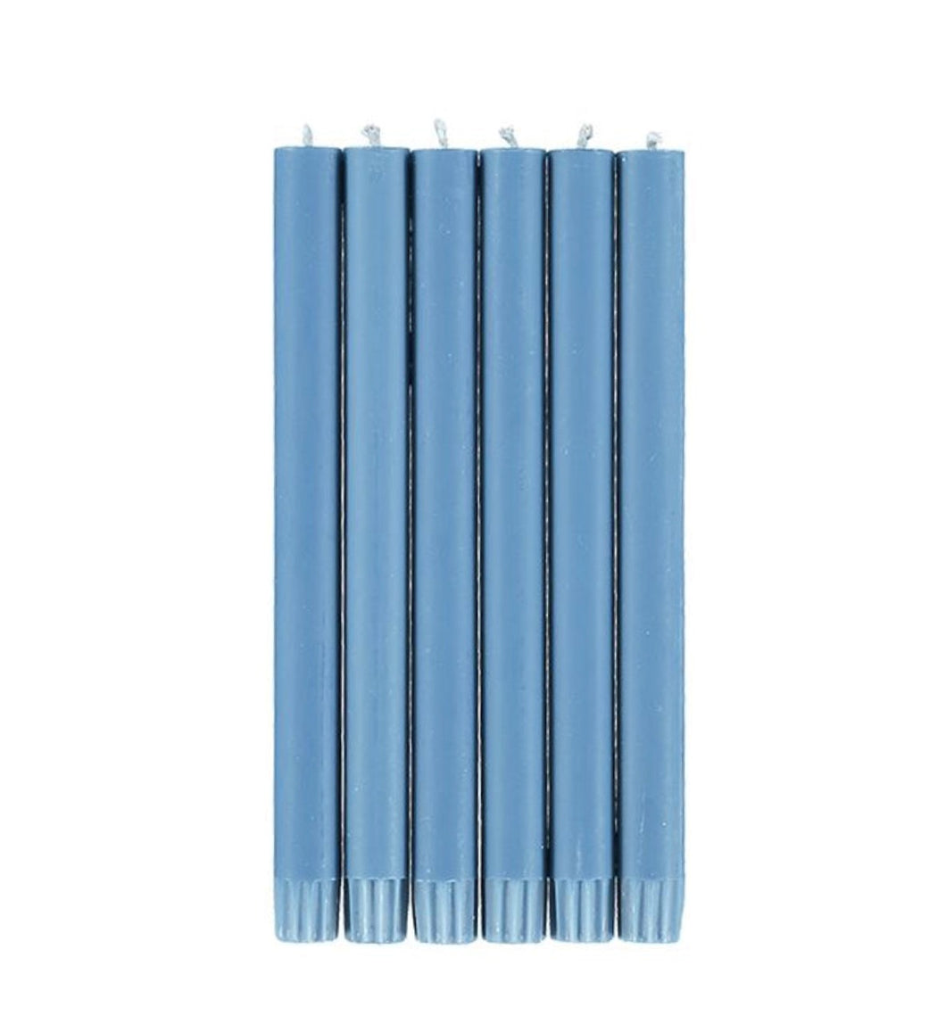 Blue Eco Plain Candles Pack Of 6