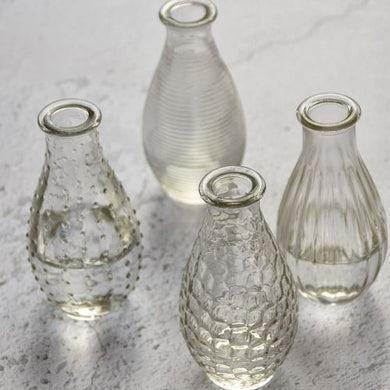 Bottle Vase Assorted Clear x 4