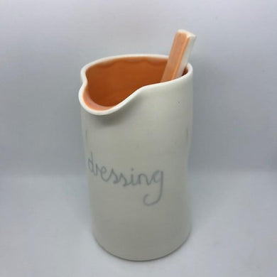 Hand Thrown Porcelain Dressing Jug & Spoon- Assorted Colours