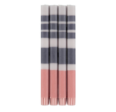 Eco Striped Candles Pack Of 4- Gull/Grey/Rose
