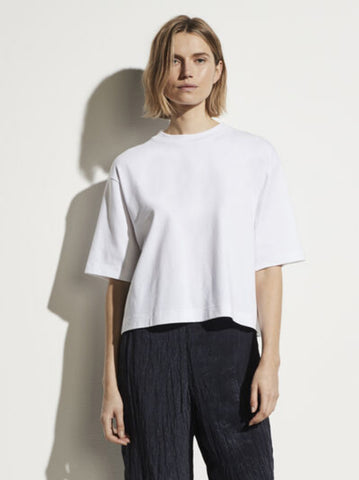 Vince Wide Sleeve Cropped Cotton Tee - White