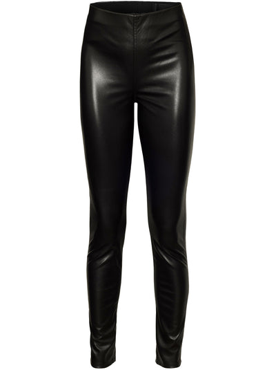 Nina Faux Leather Pull On Skinny - Black