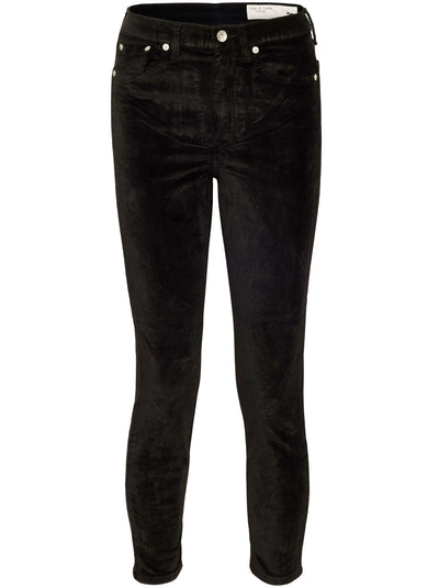 Nina Velvet High-Rise Ankle Skinny - Black