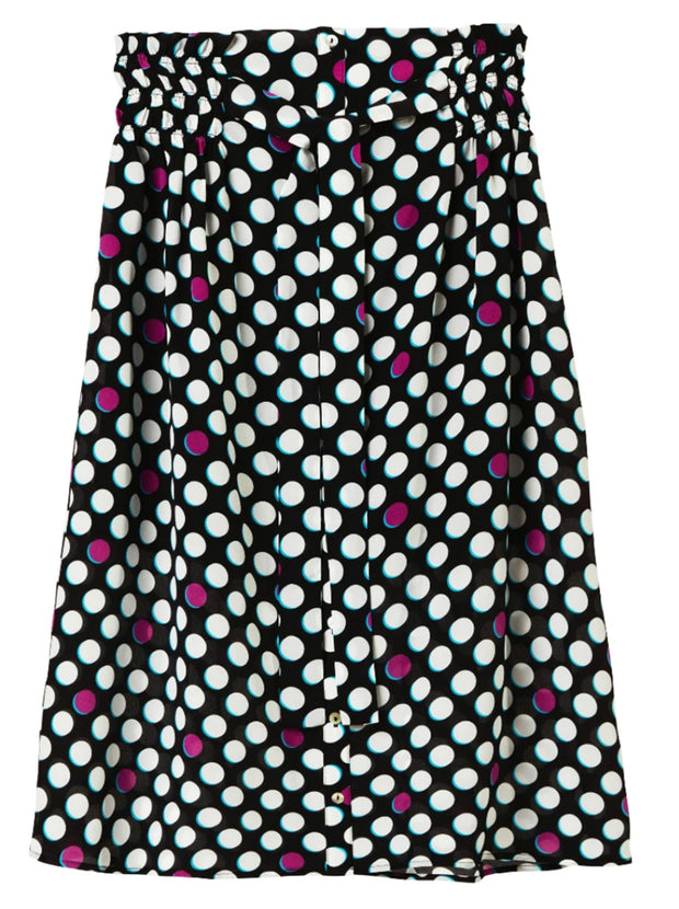 Elise Printed Silk Skirt - Dots