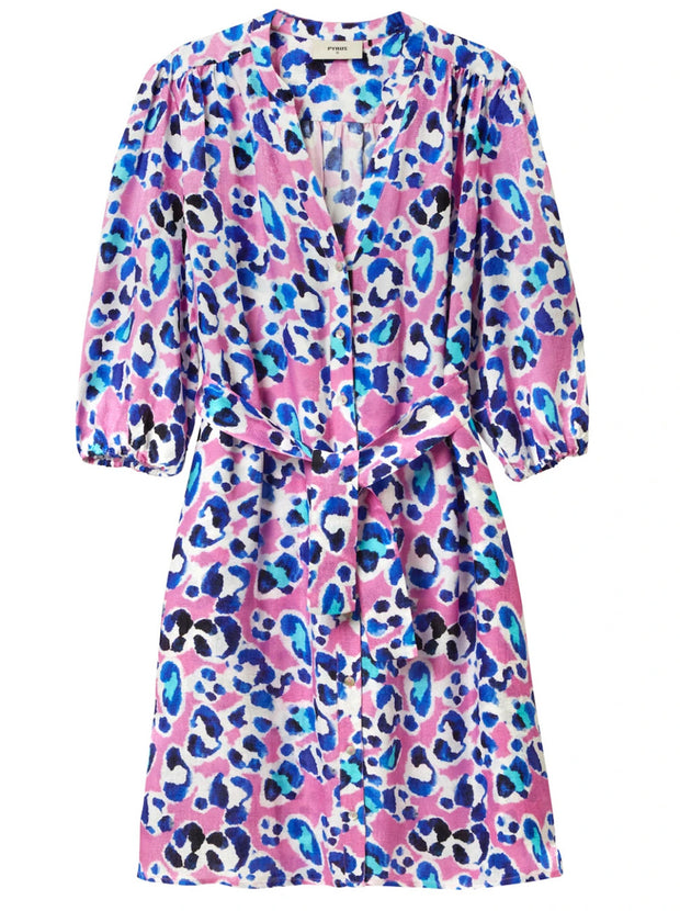 Marina Silk-Blend Shirt Dress - Painted Animal