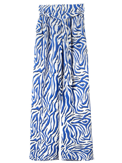 Rosin Zebra Print Trousers - Blue/Black