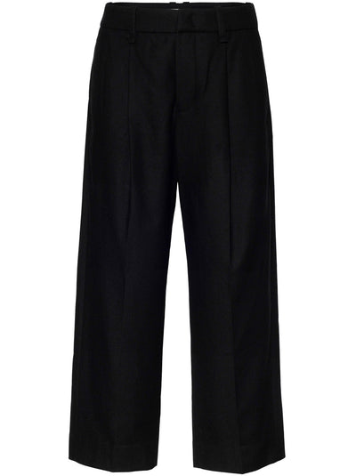 Pleat Front Wool Flannel Cropped Trouser - Black