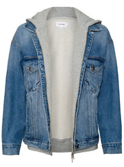Le Jagged Oversize Jacket - Denim / Heather Grey