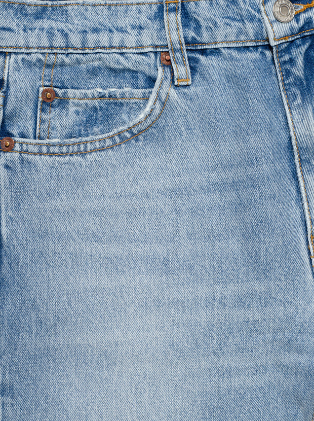 70's High-Rise Straight Leg Jean - Destroyed Sunfaded Indigo