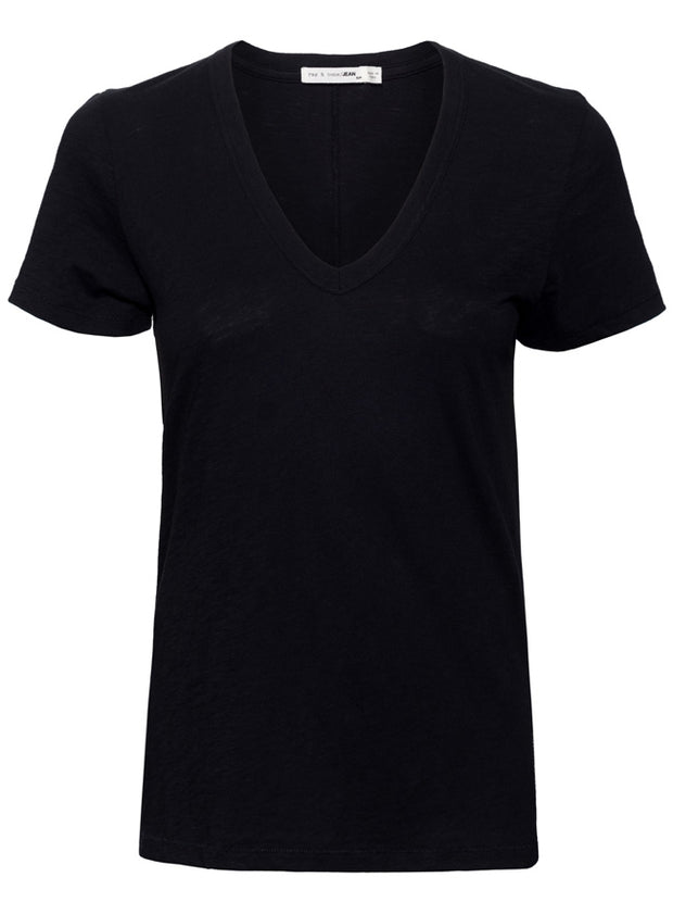 The Vee Short Sleeve Cotton Tee - Black