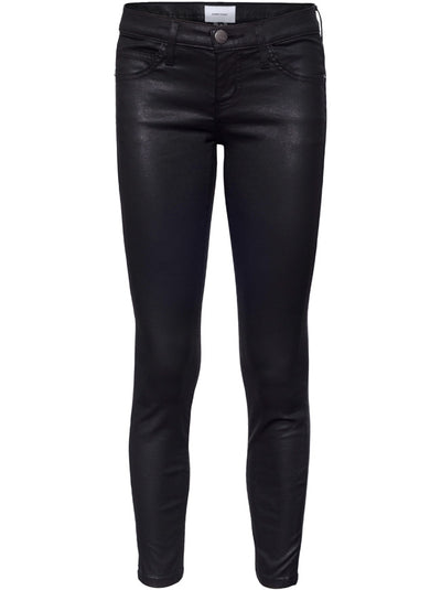 The Stiletto Mid-Rise Skinny - Black Coated