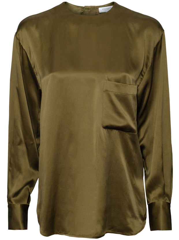 Jeunelle Silk Shirt - Dark Olive