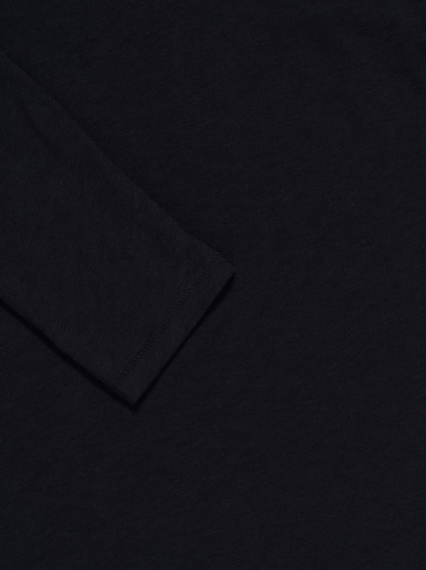 Long Sleeve Crew Neck Cotton Tee - Black