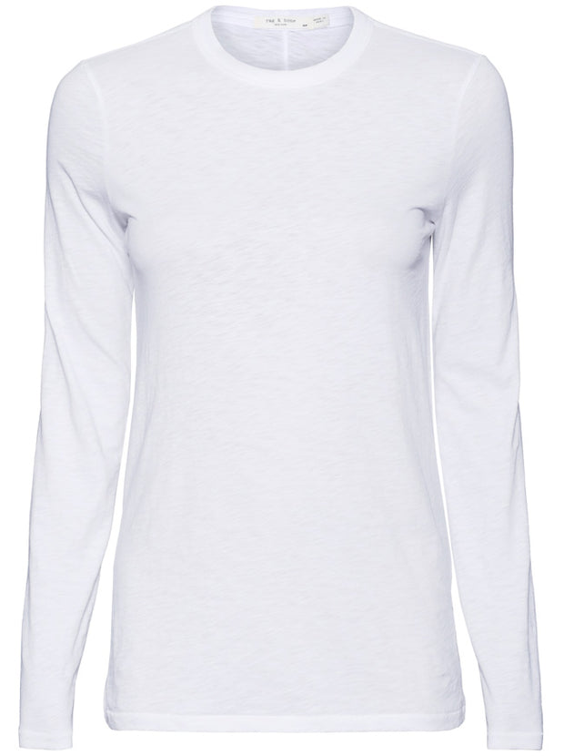 Long Sleeve Crew Neck Tee - White