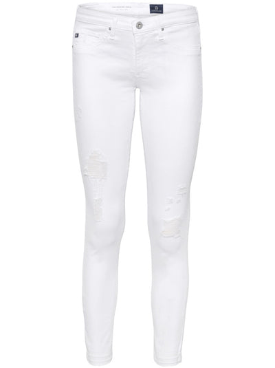 The Legging Ankle Mid-Rise Distressed Skinny - White