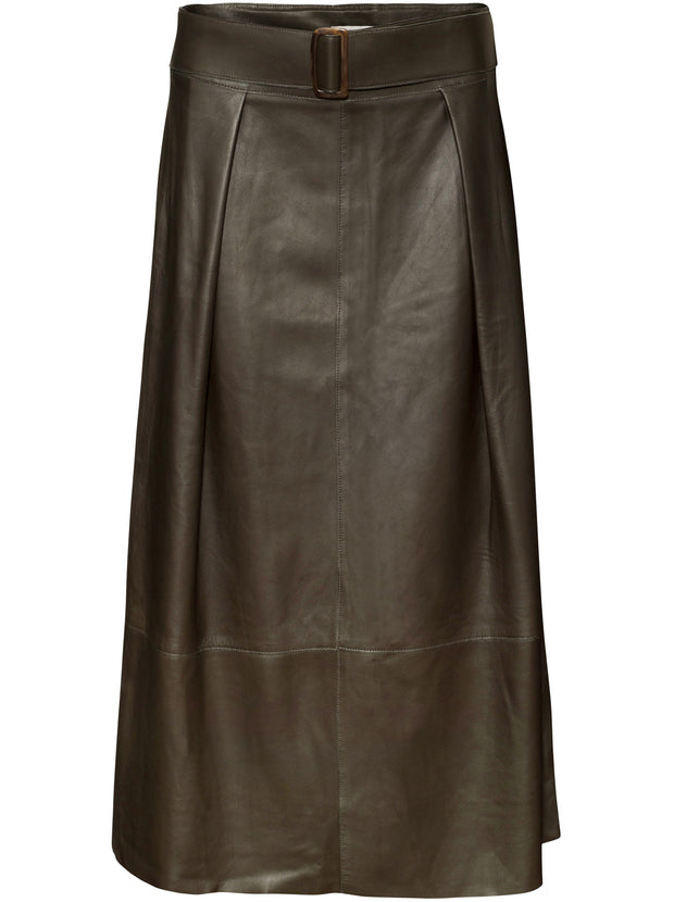 Leather Belted Skirt - Antique Green