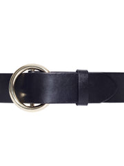 Le Circle Leather Belt - Black