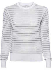 Striped Textured Long Sleeve Cotton Top - White/Navy