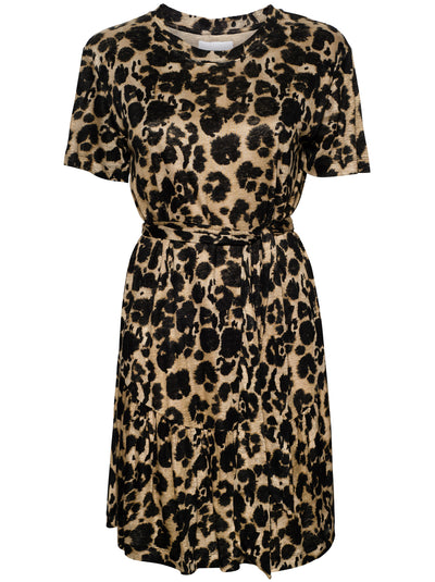The Crystal Linen Dress - Khaki Inky Leopard