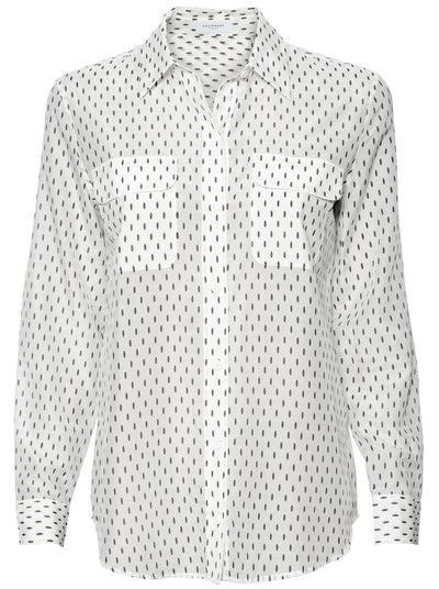 Slim Signature  Silk-Blend Shirt - White / Eclipse