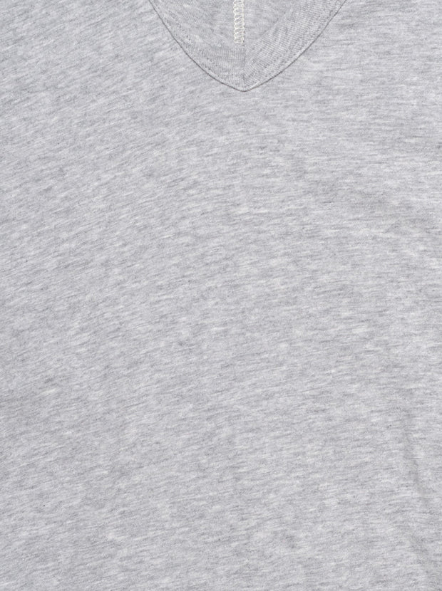 The Vee Short Sleeve Cotton Tee - Heather Grey