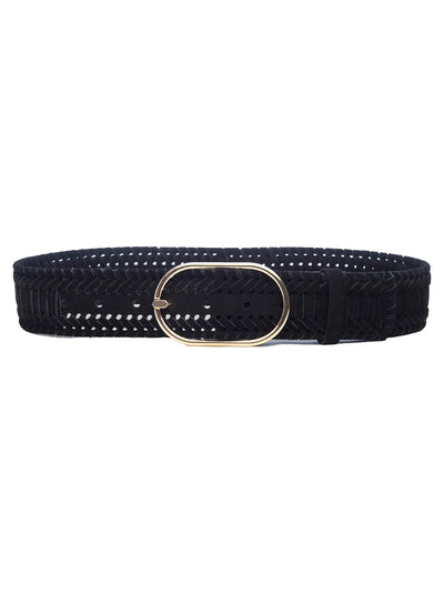 Grand Oval Suede Braided Suede Belt - Noir