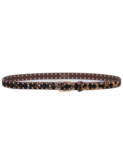 Petit Studded Suede Oval Buckle Belt - Safari Leopard