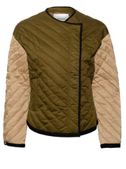 Quilted Colourblock Cotton Overlap Jacket - Cargo/Multi