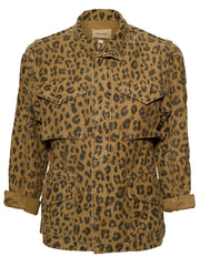 Spring Cheetah Cotton Cargo Jacket- Cheetah