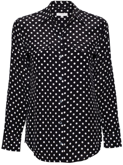 Slim Signature Polka Silk Shirt - Dark Navy / White