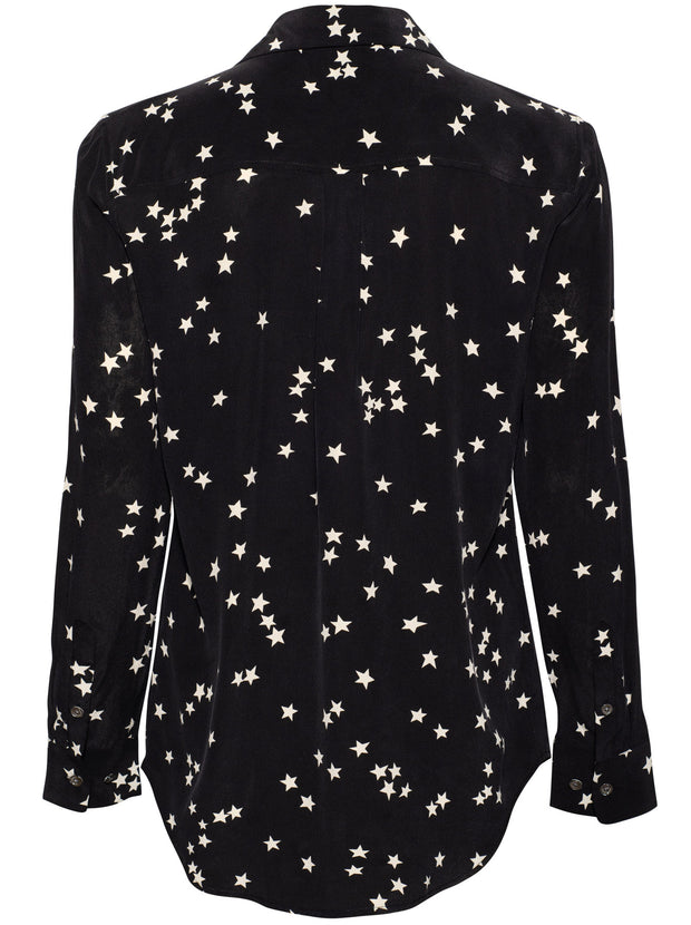 Slim Signature Star Silk Shirt - Black/White
