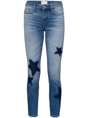 Mid-Rise Ankle Skinny - Light blue with Stars