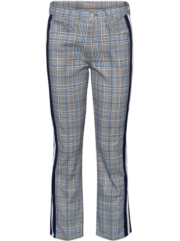 Insider Ankle Mid-Rise Cropped Trouser - Grey and Navy Plaid