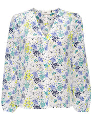 The Edith Silk Floral Blouse  - White Multi