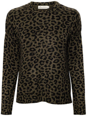 The Leo Leopard Print Cashmere Sweater - Army Green/Black