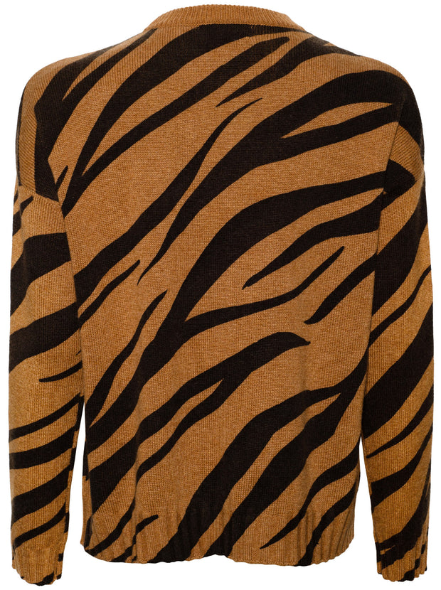 The Luna Zebra Print Cashmere Sweater - Dark Camel/Black