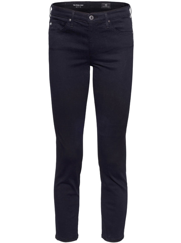 The Prima Cropped Mid-Rise Slim Leg - Super Black