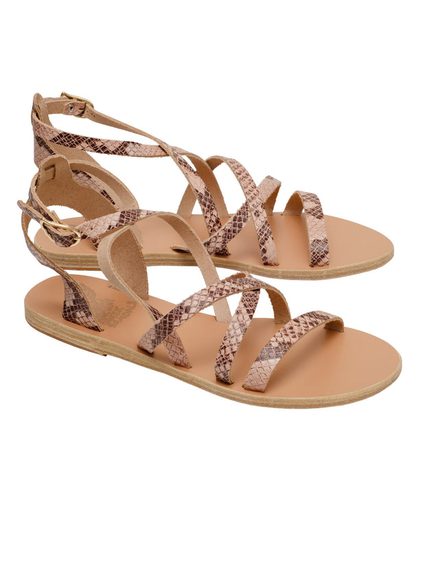 Delia Embossed Leather Sandal - Python Nude