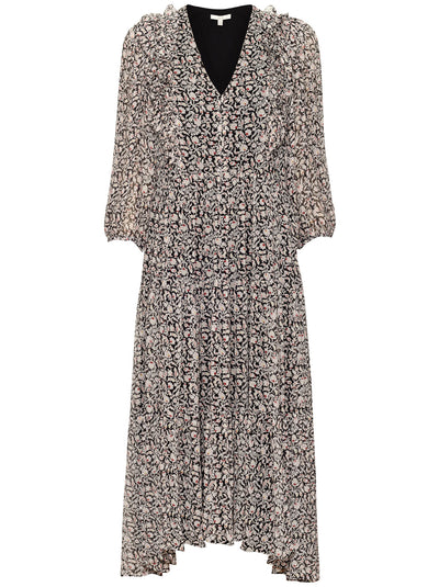 Tobey Silk Midi-Length Dress - Caviar