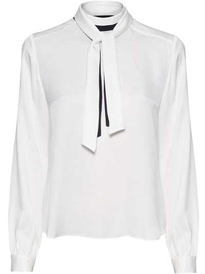 Button Back Scarf Top - Blanc