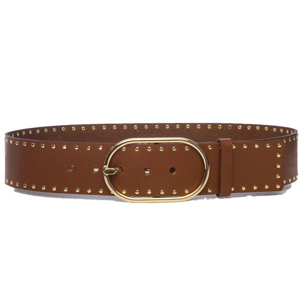 Grand Oval Buckle Belt - Tan