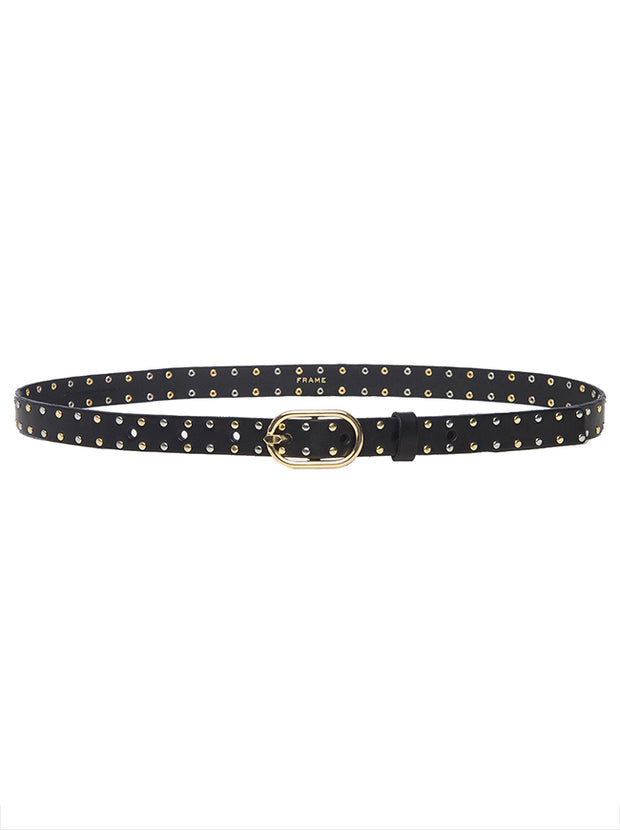 Studded Petit Oval Buckle Belt - Black
