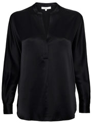 Band Collar Blouse - Black