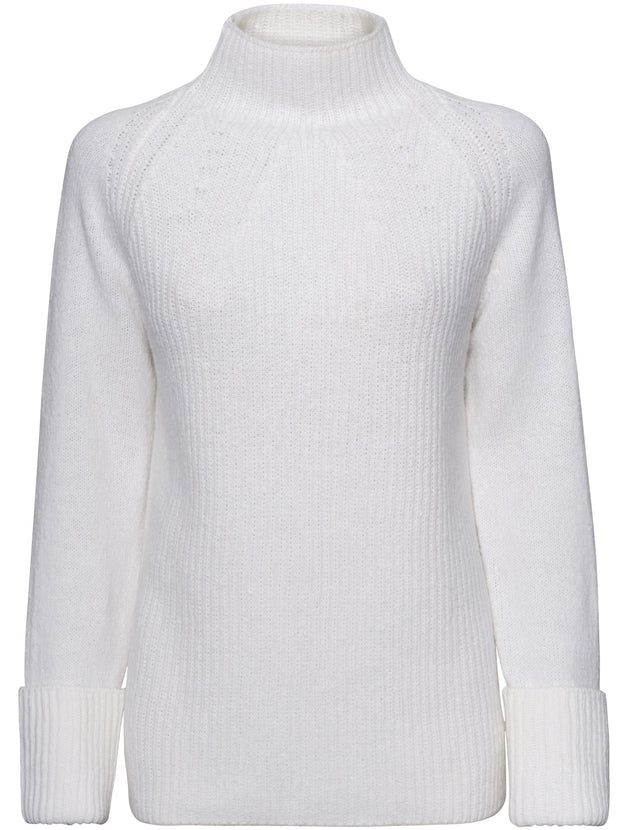 Mixed Stitch Funnel Neck Pullover - Cream