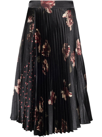 Mixed Tulip Print Pleated Skirt - Black