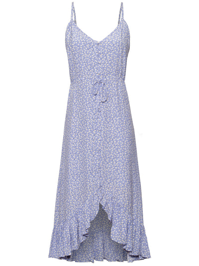 Frida Sleeveless Printed Dress - Sky Blue Daisies
